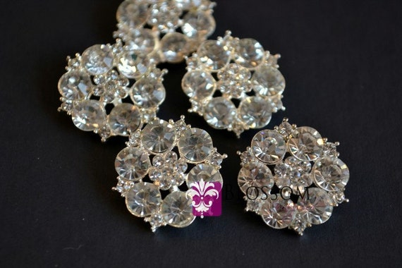 Metal Rhinestone Buttons Crystal Clear with Loop 23mm - Flower Centers - Wedding Bridal Prom  (BS8620)