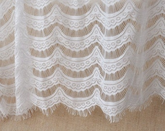 1 Metre Lace Fabric,Cream eyelashes paragraph clothing lace fabric, Embroidery,Wedding,Cream Color,Polyester Mesh (W50)