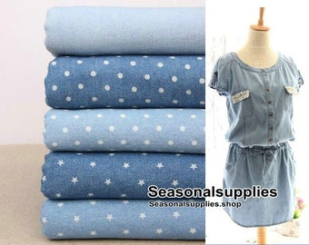 Denim Cotton Fabric, Washed Denim, A sturdy, often blue denim,Polka Dots,Star,Solid Color,Plain,5 Kinds for choice,diy,Sewing 1/2 yard(G18)