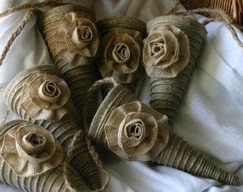 Burlap wedding cones, Wedding cones for aisle and pews, flower girl cones