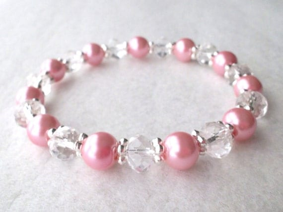 Valentines Day Frosty Pink Pearl and Clear Crystal Stretch Bracelet