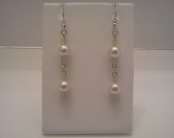 Dangle Earrings Silver Accented Pink Light Green Glass Pearl Miyuki Bead Free US Shipping