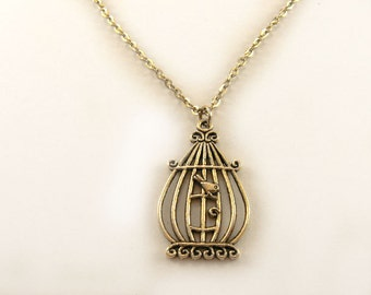 SALE Handmade vintage Necklace with fashion bird cage with birds pendant charm in silver color