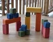Wooden Building Blocks, Spruce, Cubes, Colors, Eco Friendly, Cloth Bag