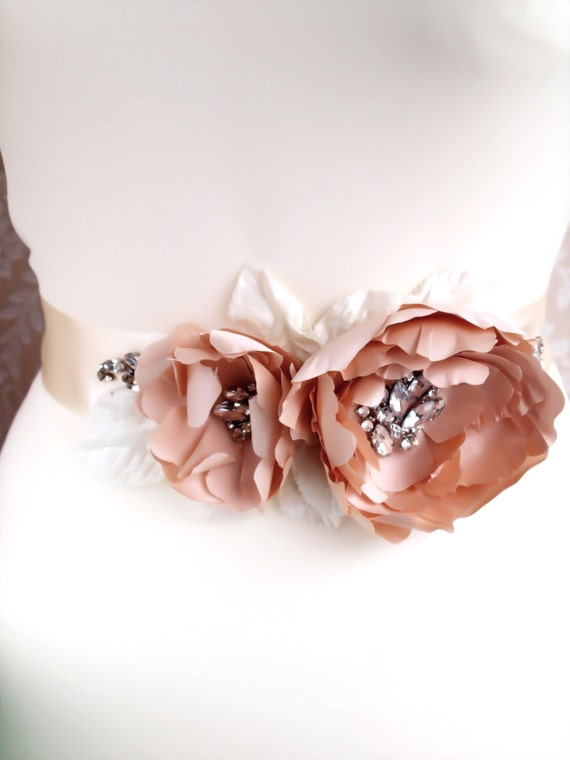 Wedding Bridal sash - Lady Catherine flower sash, real silk