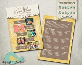 Photography Price Sheet Template - Photography Price Sheet Damask Sun
