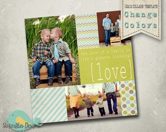 Photography Collage Template Blog Board 12x12 - Collage 1