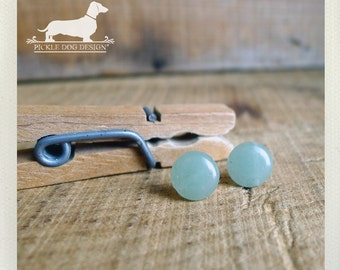 CLEARANCE! Darling Dot. Post Earrings -- (Vintage-Style, Small Studs, Simple, Pastel, Mint, Jade, Seafoam Blue, Bridesmaid Gift Under 5)