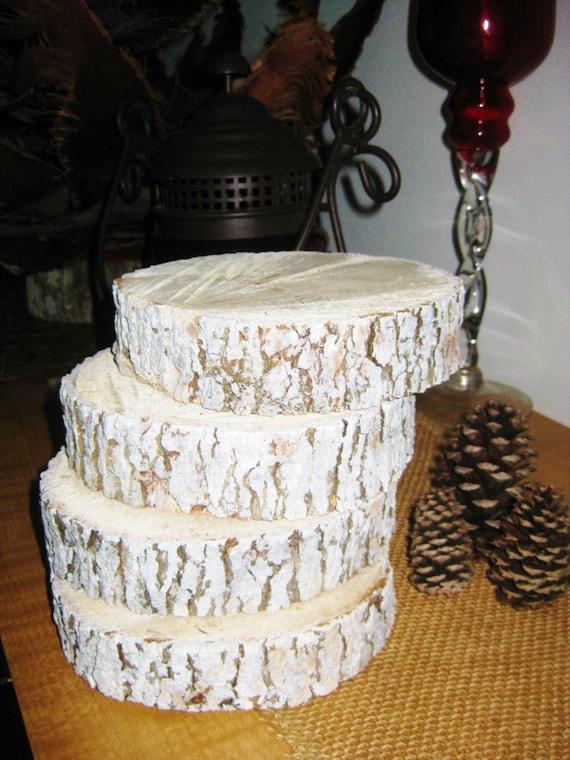 Sale white quot wood slice centerpieces set of four