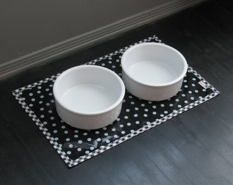 Black & White Dot Waterproof Pet Placemat with Gingham Border