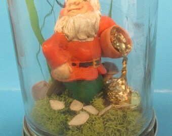 Gnome in a mason jar with a pot of gold Handmade OOAK