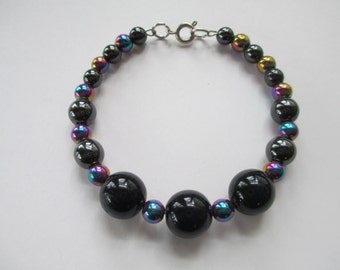 Handmade Jewelry Black and iridescent Beaded memory wire magnetic bracelet