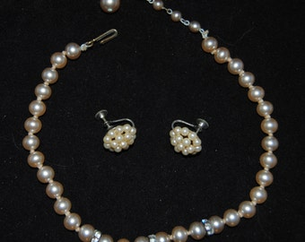Beautiful 1960s Pearl and Rhinestone Necklace and Earring Set