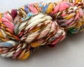 Handspun Yarn, Artful Inspirations (50 yds) Wool Pink Orange Blue Green Red Brown Rainbow Colorful Sparkle Angleina Ribbon Tulle OOAK