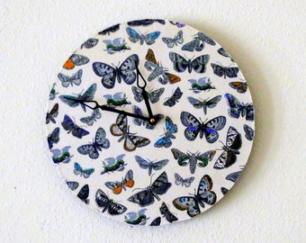 Boho Wall Clock, Home Decor, Decor and Housewares, Kitchen Clock, Home and Living, Butterflies, Unique Gift
