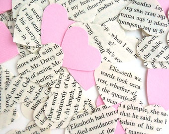 Upcycled Jane Austen Heart Confetti w/Pink Cardstock hearts, Pride & Prejudice, Eco-Friendly Wedding, Tea Party, Shower Decoration