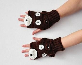 For KIDS BEAR fingerless GLOVES unisex Mittens Gift Wool Winter Woman Boy Girl Teens Cozy Brown Forest Animals Woodland