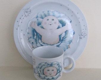 Cabbage Patch Kids Plate & Cup Set Vintage 1984