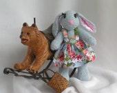 Bella Rosa - soft, knit, stuffed, bunny rabbit