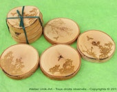 Featured in West Elm - Set of 4 oiled birch coasters with lasered drawing