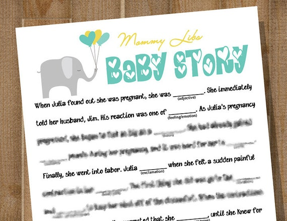 Items Similar To PRINTABLE Baby Shower Game    MOMMY LIBS: Baby Story     Custom On Etsy