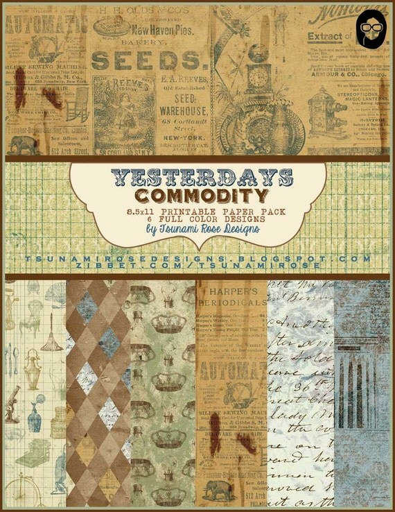 "8.5x11 Vintage Digital Printable Scrapbook Paper- ""Yesterday's Commodity"" Paper Pack""- INSTANT DOWNLOAD"