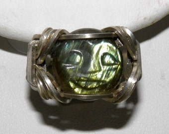 Carved Labradorite Cabachon Argentium Silver Ring, US size 6