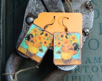 Van Gogh earrings Sunflowers art mixed media jewelry wearable art