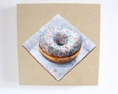 Original Painting Photorealism, Doughnut Still Life, White Coffee Shop Kitchen Art, Acrylic on Wood Panel