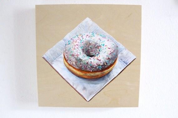Original Painting Photorealism, Doughnut Still Life, White Coffee Shop Kitchen Art, Acrylic on Wood Panel