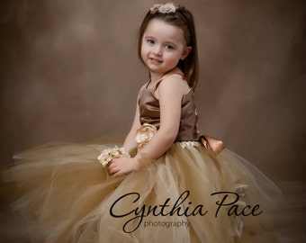 Flower Girl Tutu Dress Floor Length Sewn Tutu Dress Champagne and Gold Brown Satin Corset and Flower Hair Clip 6 months-10 CUSTOMIZABLE