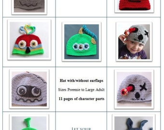 Booklet of Crochet Character Hats - INSTANT DOWNLOAD PDF from Thomasina Cummings Designs