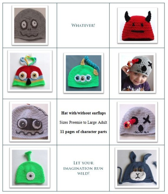 Character Design Pdf Free Download : Booklet of crochet character hats instant download pdf