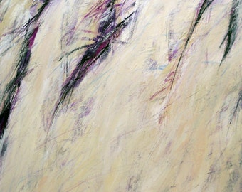Untitled 12-23-12  two (abstract expressionist painting, pastel, white, purple, cream,  silver)