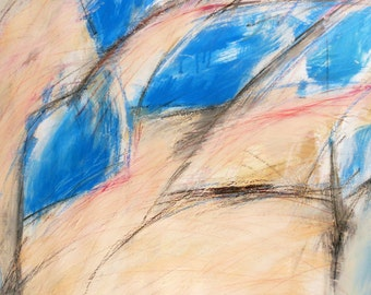 Untitled Study in Turquose and Beige, 12-31-12  (abstract expressionist painting, blue, black, pastel, white, cream, maroon)