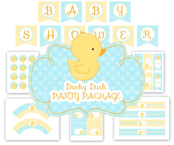 baby shower rubber ducky duckie party package
