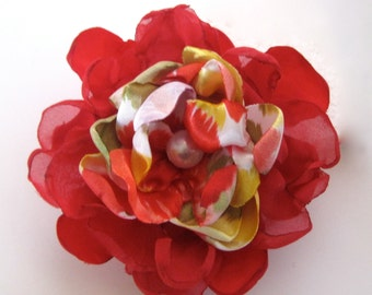 Red Satin Print and Chiffon Fabric Flower Hair Clip Pin/Brooch with Faux Pearl Accent