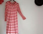 Antique Striped Night gown raglan shirt dress Christmas Pajamas Holiday PJs Red and White Nighty Vintage nightwear Rustic Sleepwear