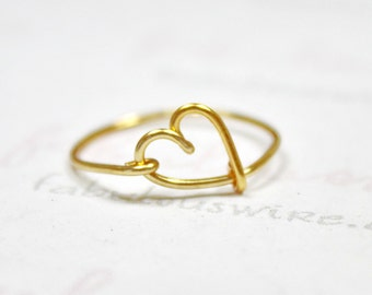 Gold Heart Ring, Heart Shaped Love Ring, Gold Wire Ring, Lovers Ring, Bridesmaid Gifts