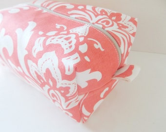 Coral Damask Makeup Bag - Water Resistant Cosmetic Bag