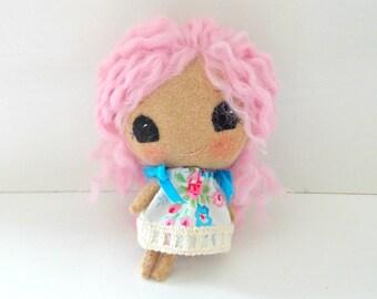 Tiny Felt Doll - Mini Moppet Doll - Gingermelon Felt Doll