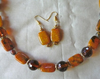 SALE!  23 Inch Yellow Orange Azurite Stone Necklace with Earrings
