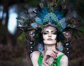 MADE TO ORDER Peacock Fantasy Woodland fairy nymph goddess headdress headpiece gaga steampunk burlesque costume