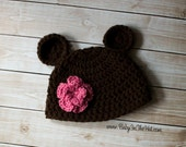 Newborn Bear Flower Pink  Hat  Photo Prop 0-12 Months