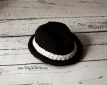 Newborn Black Fedora With White Band Crochet Hat Photo Prop 0-12 Months