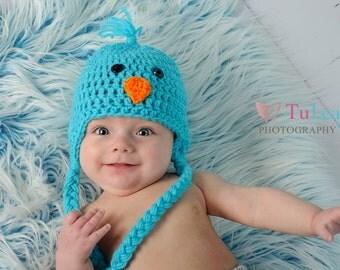 Children's Adorable Chick Earsflap Crochet Spring Hat Photo Prop