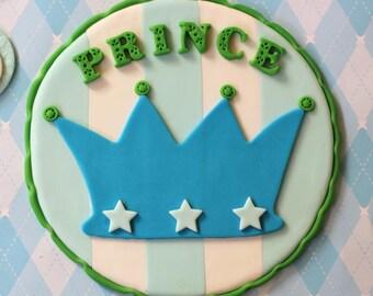 Whimsical Prince Baby Prince Fondant Cake Topper