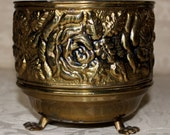 Vintage 1940's Roses Gold Metal Footed Bowl Planter Made in England