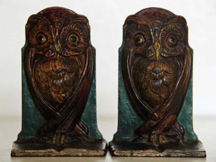 Antique Art Nouveau Deco Wise Owl Bookends Cast By