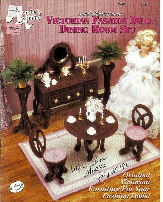 Victorian Fasion Doll Dining Room Set in Plastic Canvas for Barbie Annie's Attic 226K